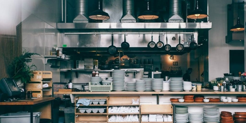 A photo of a kitchen of a restaurant in London