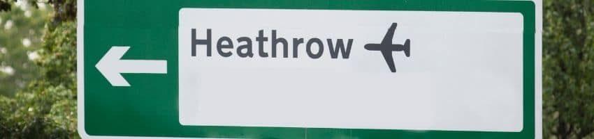 Heathrow Airport Sign board in Highway